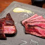 創作鉄板 粉者牛師 - 国産黒毛和牛 厳選赤身&霜降り肉 二種盛り