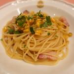 ピッツェリア・サバティーニ - 焼きとうもろこしとパンチェッタのペペロンチーニスパゲッティーニ