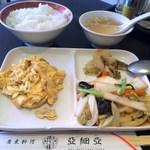 亜細亜 - 日替りランチ(卵ひき肉炒め、野菜炒め添え)ライス、スープ、ザーサイ付。