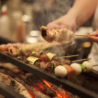 厳選食材と最高レベルの紀州備長炭で焼き上げる逸品