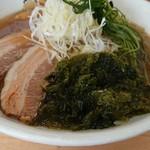 麺 大仏 - チャーシュー、アオサ、オカヒジキ