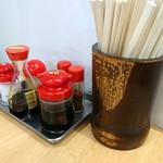 大栄食堂 - 2018年6月 卓上の薬味たち