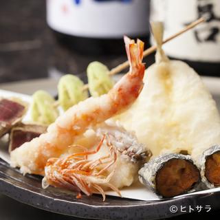 江戸前魚介や産地直送の旬野菜など、40種以上の天種が集う