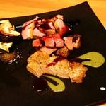 89002819 - 河内鴨・黒毛和牛・犬鳴ポーク 3種のお肉の鉄板焼き