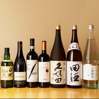 獺祭,久保田,黒龍など希少な日本酒やお肉に合うワインをご用意