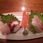和酒と旬菜なごみ料理 日月 - 本日の鮮魚3種盛り合わせ