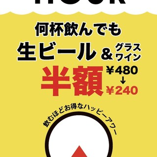 ≪18:00~19:00≫飲むほどお得なハッピーアワー開催!