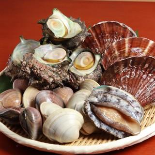 各地から毎日取り寄せる新鮮な魚貝類