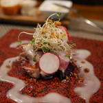 Arashida - 料理写真:温前菜2:鰹と茄子 ビナグレットソース