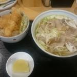 手打ちうどん寺屋  - 肉うどん(名寄大雪豚)700円+海老天丼500円