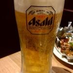 広島焼き どんき - 溢れんばかりの生ビール