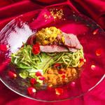 冷酷に咲き乱れる薔薇の花~ローストビーフと雲丹の冷製スパゲッティ シソ風味のサルサ・ヴェルデ~