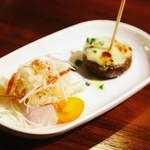 バルバル - アミューズ 山伏茸のサラダ仕立てと椎茸とブルーチーズ