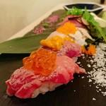 肉寿司 薪焼き キッチンひろ - 肉寿司盛り合わせ(1380円)