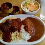 カレー専門店 パピー - 本日のランチセット ミートボールミートソース&カレーライス 780円