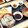 大洗町漁協 かあちゃんの店 - 料理写真:三色丼定食とかき揚げ単品