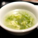 89082259 - 台湾風豚肉の香味醤油煮あんかけご飯 890円 の玉子スープ