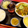 しいたけ飯店 - 料理写真:豚角煮定食A(回鍋肉)1280円(サラダ・スープ・漬物・ドリンク付き)