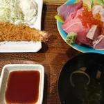 とみ家 - えび、ちらしセット(1600円)