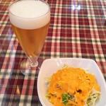 ハリオン - セットのミニサラダとランチビール