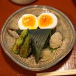 瓢亭 - 名物 瓢亭玉子、万願寺唐辛子焼き、鯛のちまき寿司、蛸の卵の煮付け
