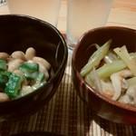 ゆるり - オクラ納豆&セロリ、小エビ、じゃこ、マイタケ炒め