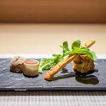 ガストロノミーソール ヤナギヤ - ソーセージの春巻き 鴨のリエット 桜海老のパンプディング デュカのパイ