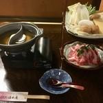 町屋 清水庵 - 東伯牛餅しゃぶ こちらの他、茶碗蒸しととち餅あんかけが付きます。