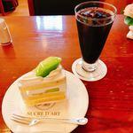 シュークルダール - アイスコーヒー 500円 鳥取県より取寄せメロンのメロンショートケーキ 570円