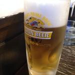 牛串とらまめともつ鍋こ豆 - 生ビール 500円