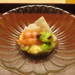 89165350 - 先付 車海老 白芋茎 蓮根 一寸豆 黄味酢和え