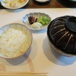 大志満 椿壽 - 30年7月 御飯、なめこと若布の味噌汁、お新香(天ぷらコース)