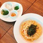 イタリアン食堂 ニーナの台所 - 明太子クリーム  4種の薬味添え