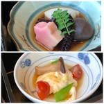 千羽鶴 - ◆上:蛸の旨煮、コンニャクや山芋の煮物。 ◆下:湯葉