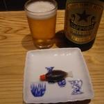 中野テリトリ - 中瓶ビールと取り皿
