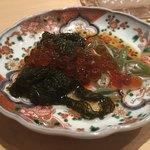鮨 行天 - 小浜のもずくと白神山地の蓴菜とイクラ