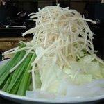 やま中 本店 - もつ鍋『やま中』のモツ鍋の野菜盛り@福岡市・大橋