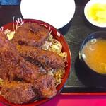 玉龍飯店 - ミックス丼 味噌汁+小鉢付き