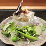 白 - 旬肴:大トリ貝 花びら茸 玉味噌 生野菜