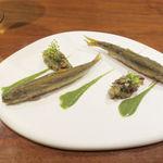 Alternative - 稚鮎のフリット 大葉のソース セロリとキュウリ、スモモのタルタル