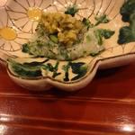 蓬左茶寮 - 鱧と秋葵のたたき 柚子胡椒