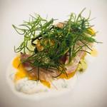アルモニコ - オクラのフラン 豊後水道の鮮魚野菜の昆布〆とリコッタ