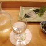 鮨まつい - 一ノ蔵 特別純米 & マコ鰈
