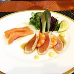 西武特別食堂 ホテルオークラ - 夏の洋食コース <オパール>  マカジキとシュリンプのヴィネグレット スモークサーモン添え