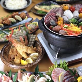 人気NO1【貝蒸し鍋】【貝と鮮魚の5種盛】が付いた貝長コース