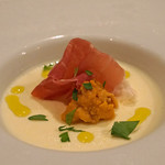 ブリボン - 料理写真:とうもろこしのパンナコッタ ウニと生ハム