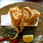 天ぷら 松 - 賀茂茄子と車海老のサンドイッチ揚げ