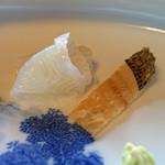 天ぷら 松 - 昆布〆の鰈 と 鰈の骨の煎餅