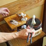 天ぷら 松 - 生トリ貝のシャブシャブ