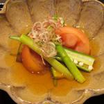 89281352 - 冷鉢 (千種川ファームのトマト、南京、茗荷、オクラ、アスパラガス)